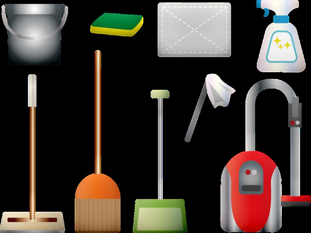 cleaning supplies, vacuum, broom