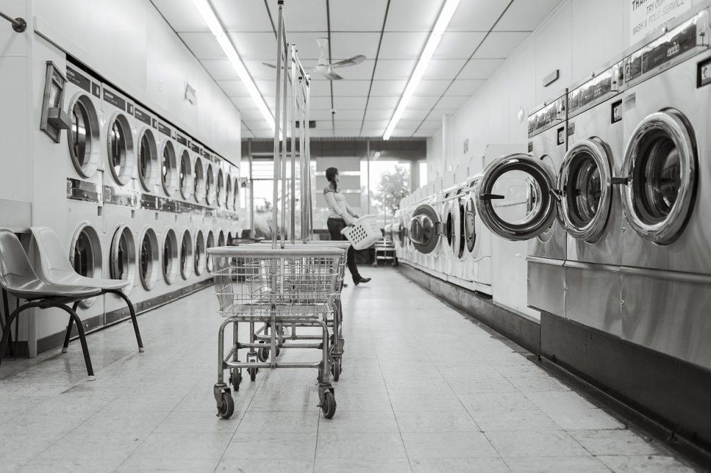 laundry saloon, laundry, person